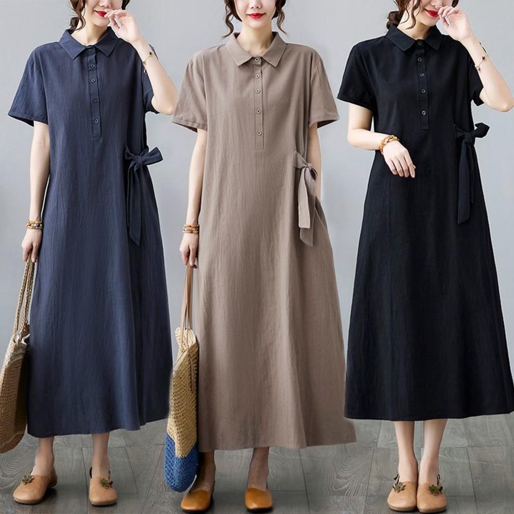 實拍 短袖 文藝 中大尺碼 洋裝 長裙【 D0251】純色 棉麻翻領 口袋 長洋裝