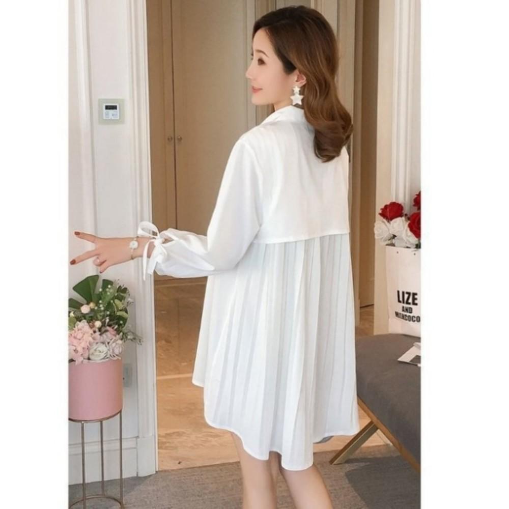 翻領 洋裝 【D0298】 韓系 純色 白色 長袖 娃娃裝 七分袖 襯衫洋裝 孕婦裝