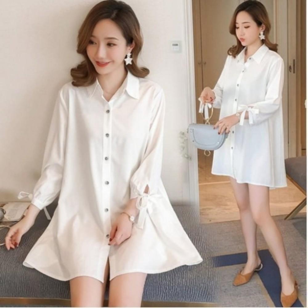 D0298-翻領 洋裝 【D0298】 韓系 純色 白色 長袖 娃娃裝 七分袖 襯衫洋裝 孕婦裝