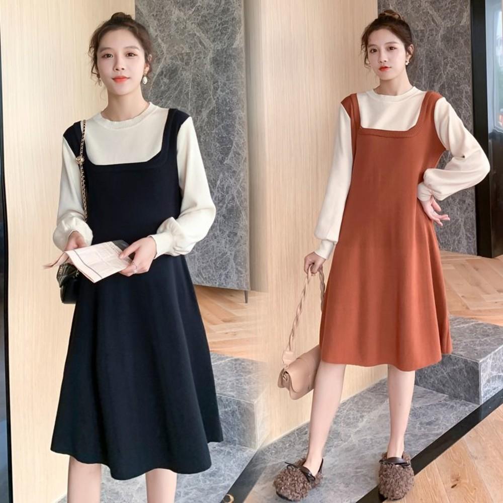 D0351-實拍 韓系 毛衣洋裝【D0351】假兩件 拼接 背心裙 造型 長袖 針織洋裝 針織裙