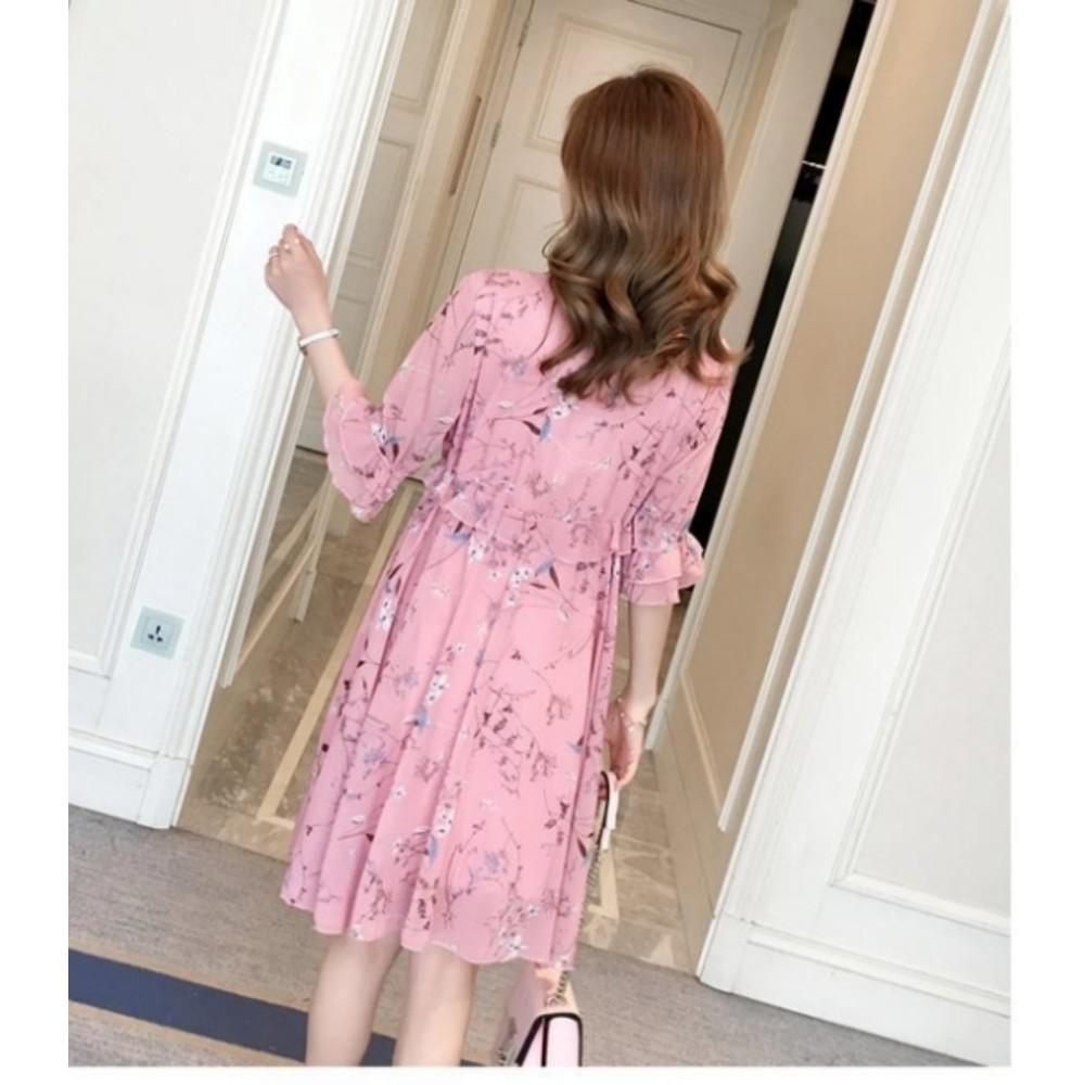 孕婦洋裝 【D0356】 魅力花色 五分袖 中袖 雪紡 孕婦裝 短袖 碎花小洋裝