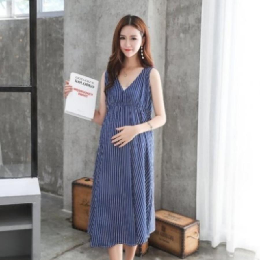 無袖洋裝 【D0382】 韓國 條紋 V領 高腰 長裙 孕婦裝 無袖洋裝 長洋裝 可哺乳