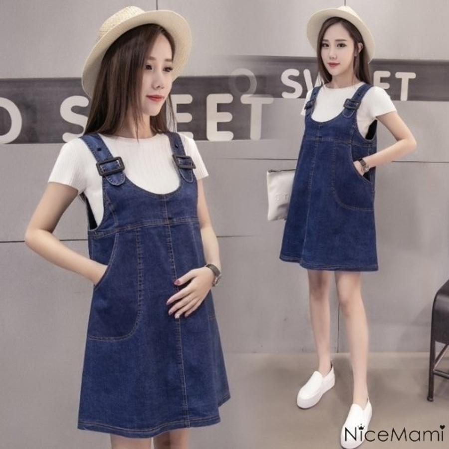 D0703UK-韓系兩件式洋裝 【D0703UK】 兩件式 牛仔裙 白T恤 孕婦裝 吊帶裙 背心裙洋裝