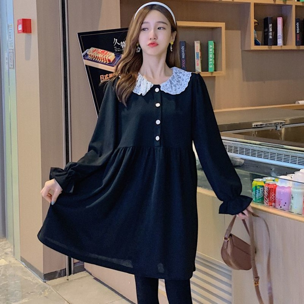 韓系 實拍 蕾絲 翻領 洋裝【D0811】連衣裙 長袖 開扣 連身裙
