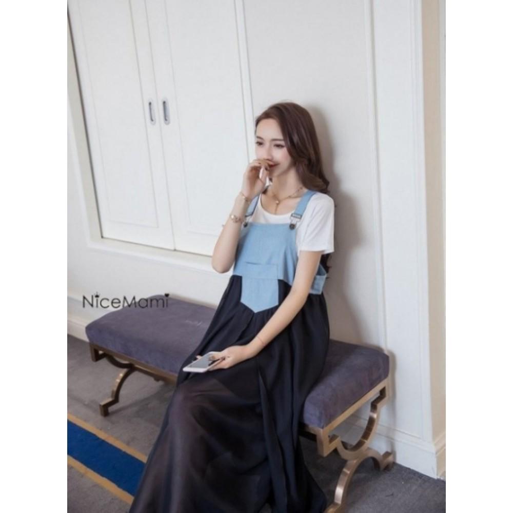 韓系雪紡長裙 【D092YS】 時尚 仿牛仔 雪紡 拼接 吊帶裙 背心裙 長裙 長洋裝
