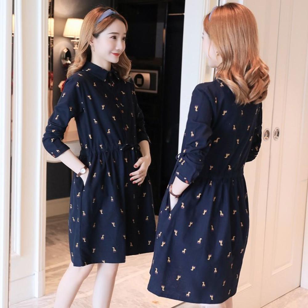 韓系洋裝 【D1012】 翻領 鹿鹿 長袖 法蘭絨 保暖 抽繩洋裝 孕婦裝 襯衫洋裝