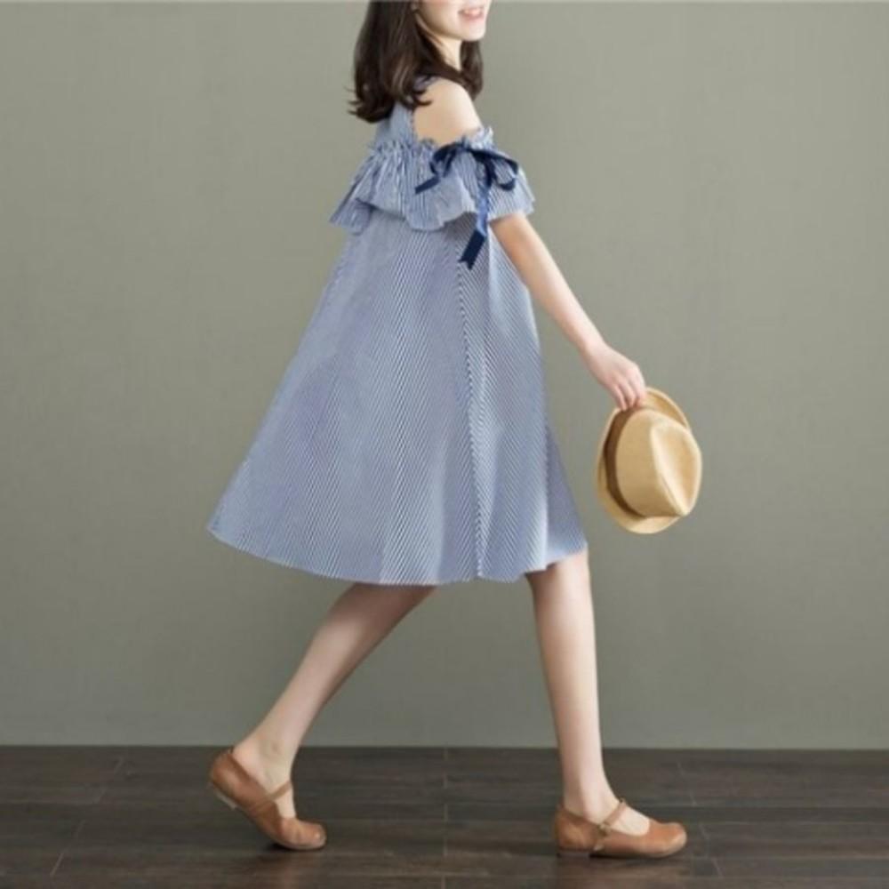 裸肩洋裝 【D1033】 條紋 裸肩 短袖 蝴蝶結 露肩 孕婦裝 傘狀洋裝 寬鬆