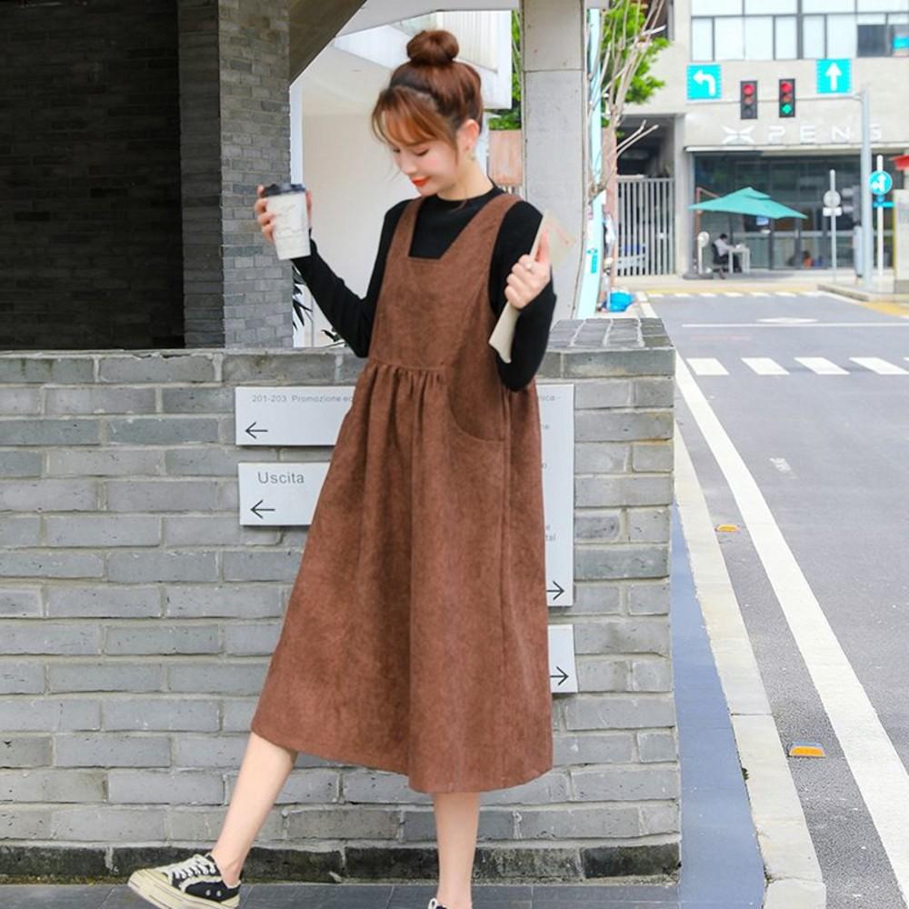 實拍 韓系 燈芯絨 吊帶裙【D1055】方領 背帶裙 背心裙 洋裝 背心長裙 不含上衣