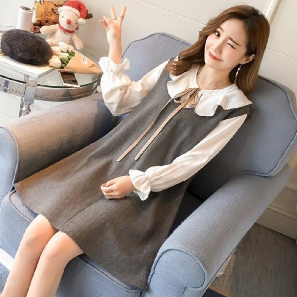 二件式毛呢減齡背心洋裝 【D1067】寬鬆 長袖 中長款 傘狀 襯衫 背心裙 兩件式 套裝