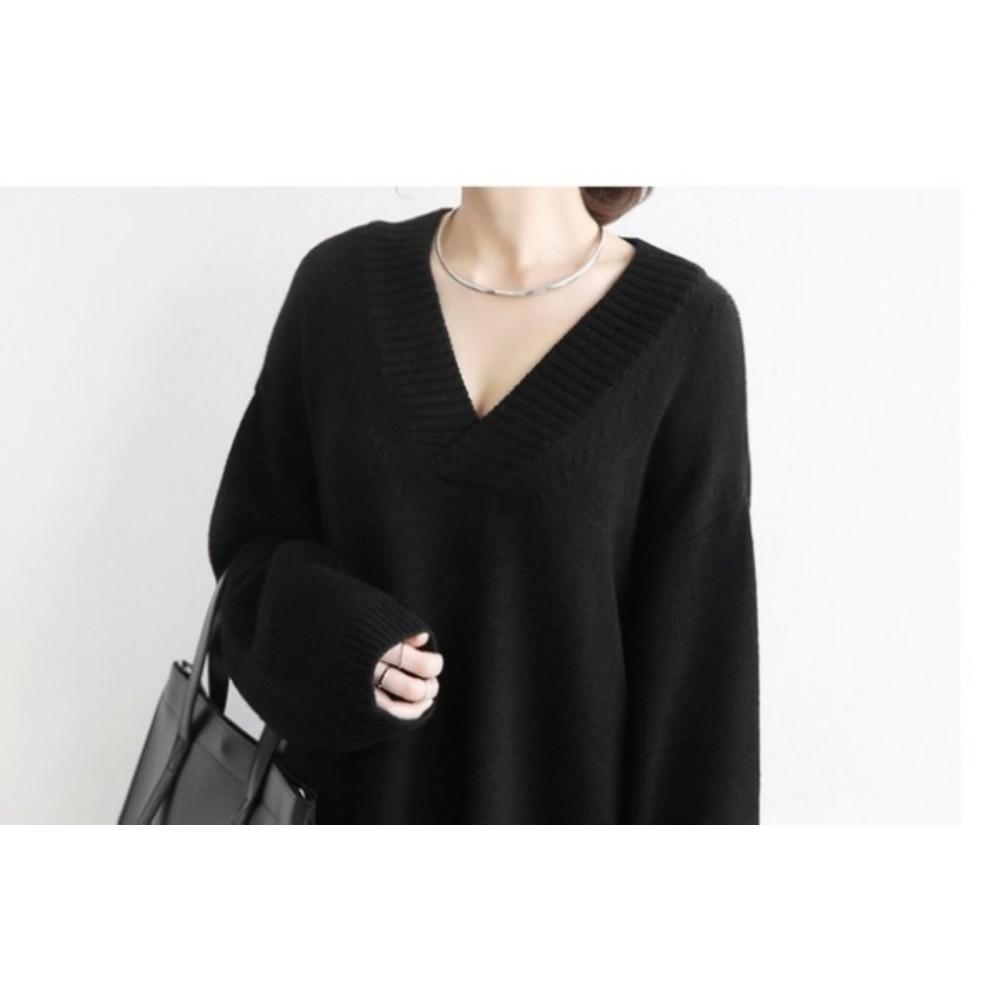 韓系洋裝 【D1086】 V領 長袖 針織毛衣 針織衫 長版毛衣 針織長裙 孕婦洋裝 孕婦裝