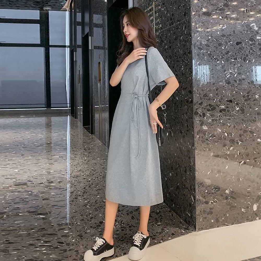 實拍 韓系 腰帶 長裙 【D1092】收腹 顯瘦 純色 洋裝 連衣裙 孕期產後 皆宜