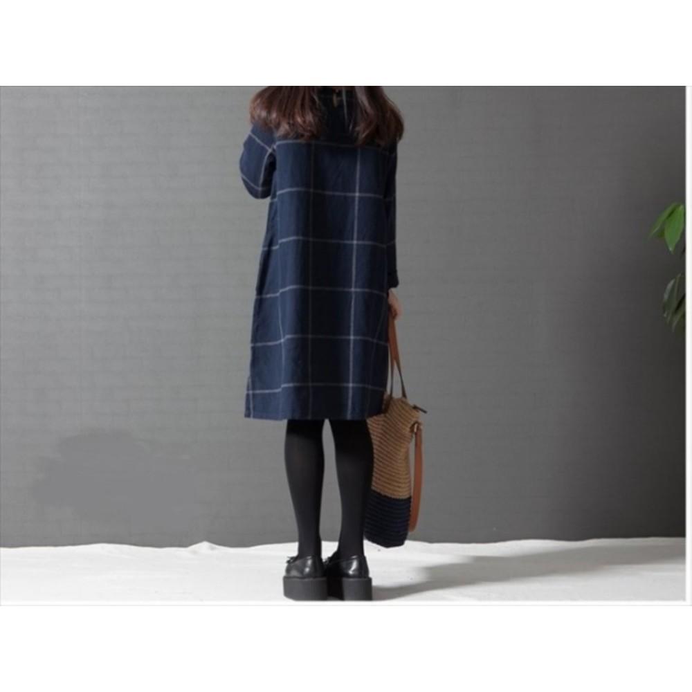 寬鬆洋裝 【D1095】 加大 長袖 棉麻 經典 格紋 清新 文藝風格 孕婦裝 孕婦洋裝