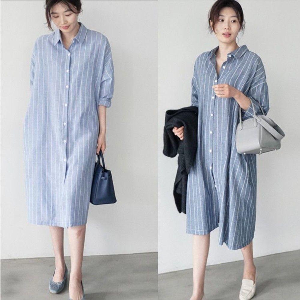 D1112-韓系 條紋 寬鬆 襯衫洋裝【D1112】中長 開襟 襯衫  落肩袖 洋裝 翻領 襯衣洋裝 加大