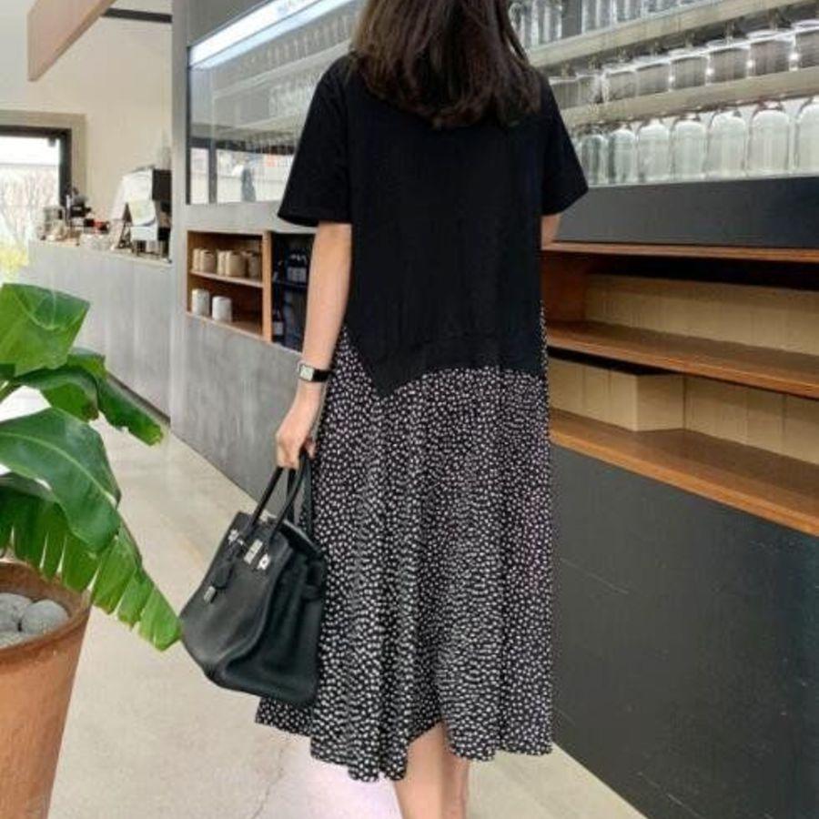 假兩件 T恤 拼接 點點 長裙【D1123】中大碼 女裝 短袖 波點 連衣裙 長洋裝 孕婦可穿
