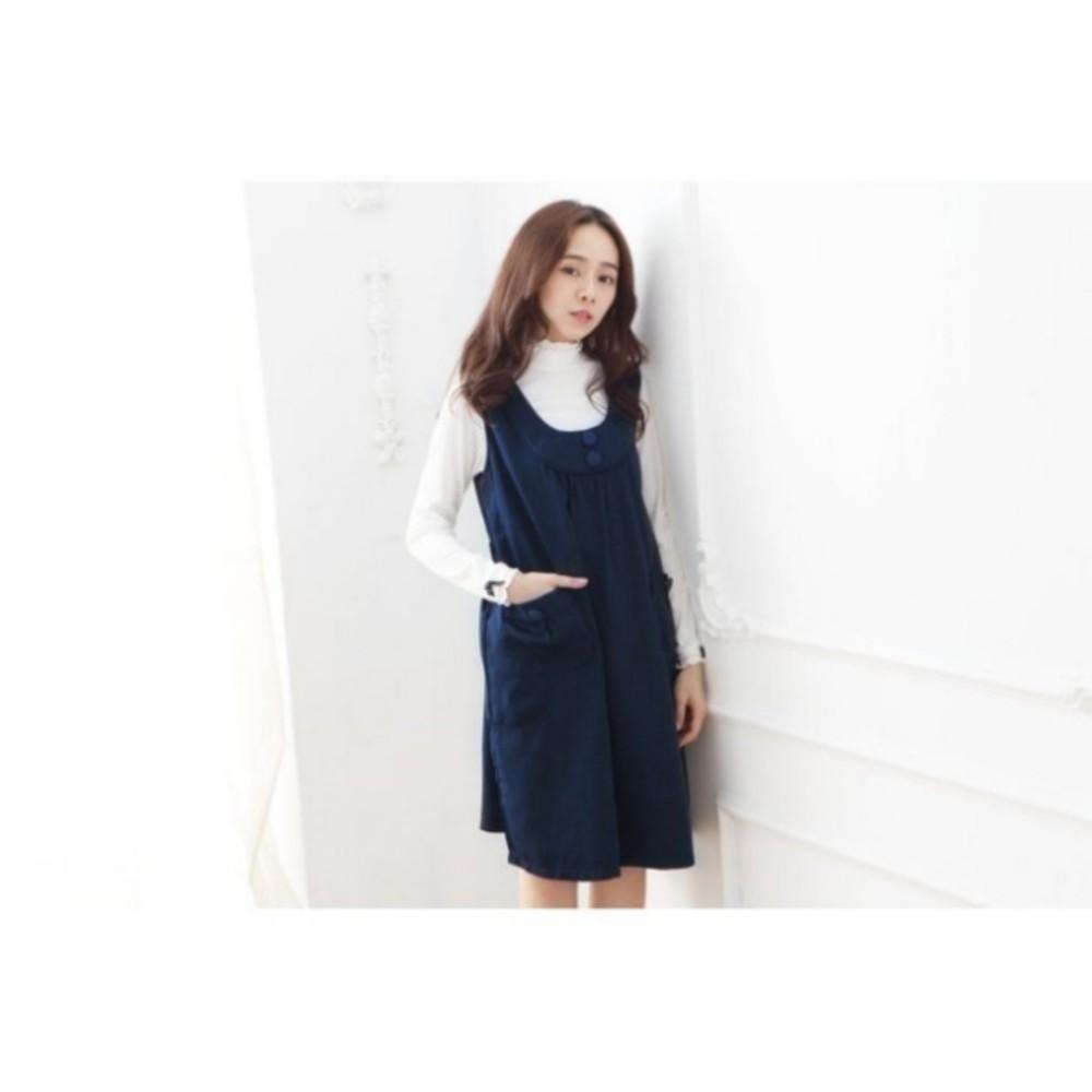 造型鈕扣洋裝 【D1125GU】 口袋 純色 無袖 孕婦 背心裙 吊帶裙 孕婦連身裙 孕婦裝