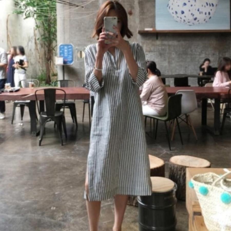 D1176 - 韓系洋裝 【D1176】 寬鬆 七分袖 條紋 開叉 翻領 開襟 襯衫洋裝 長版襯衫 孕婦裝
