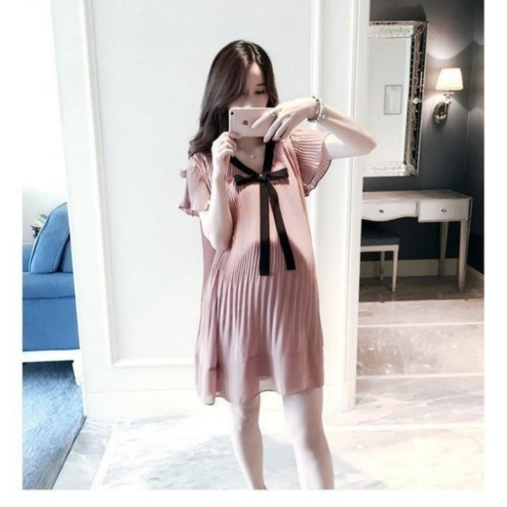 韓系 洋裝 【D1188】 雪紡 百褶 短袖 洋裝 孕婦裝 雪紡裙 孕婦洋裝