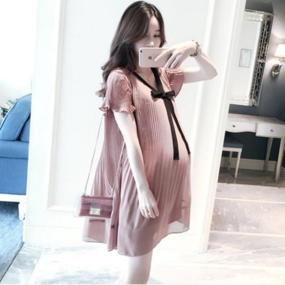 D1188 - 韓系 洋裝 【D1188】 雪紡 百褶 短袖 洋裝 孕婦裝 雪紡裙 孕婦洋裝