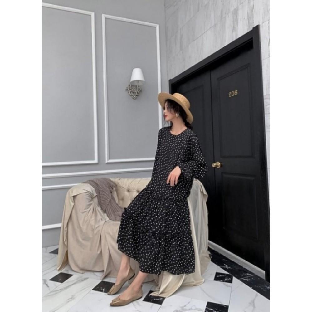 韓系波點洋裝 【D1199】點點 寬鬆 顯瘦 長袖 長裙 長洋裝 孕婦裝 連身裙