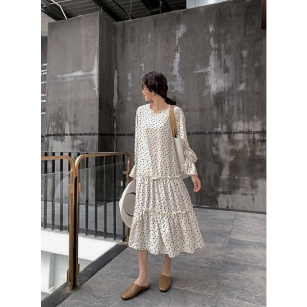D1199-韓系波點洋裝 【D1199】點點 寬鬆 顯瘦 長袖 長裙 長洋裝 孕婦裝 連身裙