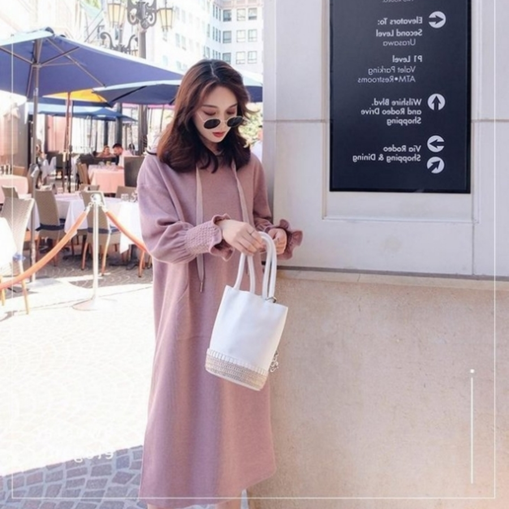 韓系造型袖連帽洋裝 【D1208】韓系 開叉 連帽 長版 保暖 長袖 孕婦洋裝 孕婦裝