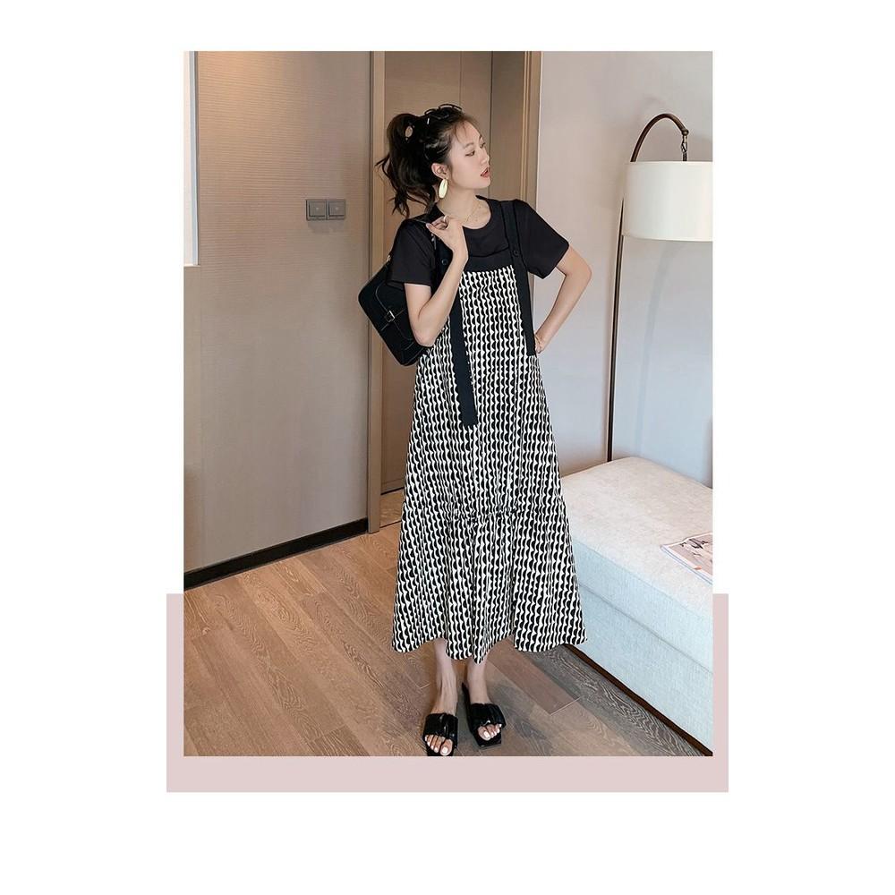 韓系 實拍  魚尾洋裝 長裙 【D1247】 波浪紋 細肩 背心長裙 長洋裝 魚尾裙
