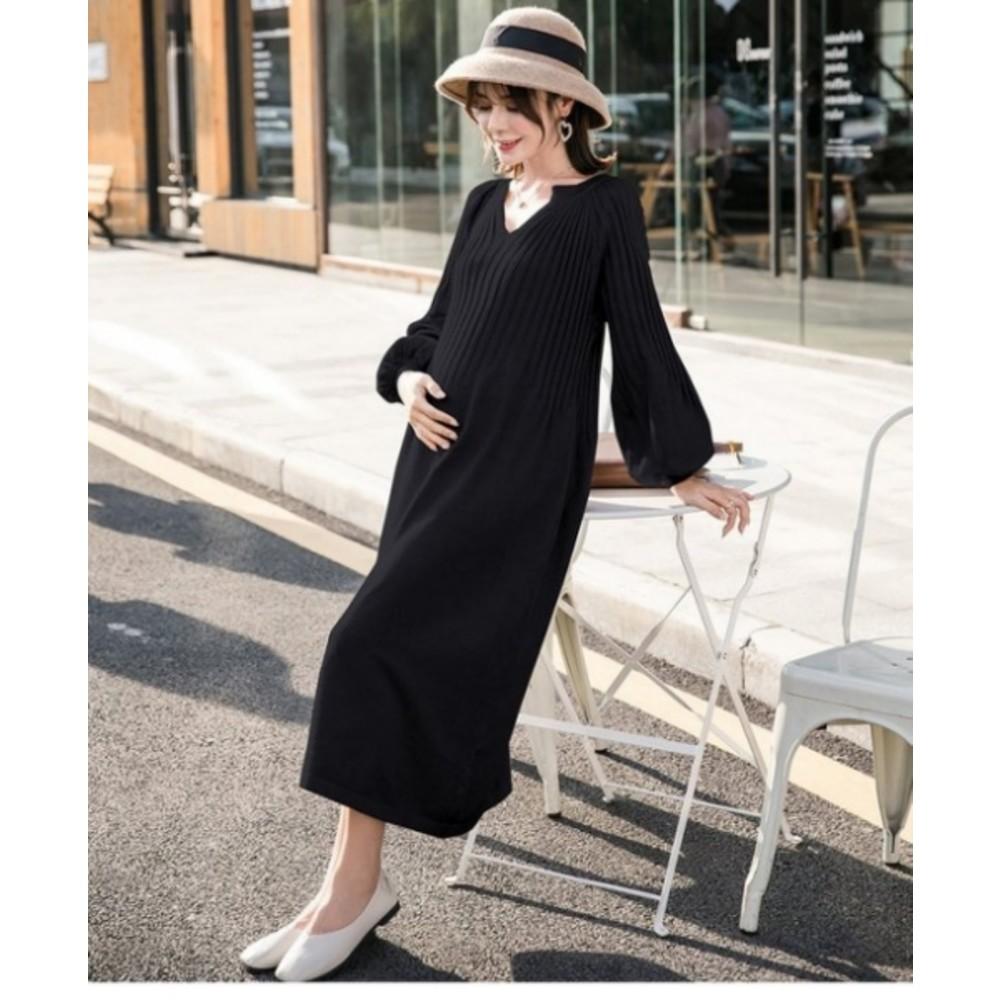 韓系實拍洋裝 【D1252】 質感 燈籠袖 泡泡袖 針織 長袖 毛衣 針織 孕婦裝 長裙洋裝