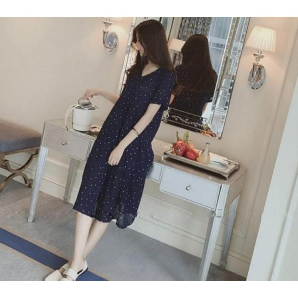 雪紡洋裝【D1262】短袖 圓點點 V領 傘狀 洋裝 孕婦裝 孕婦洋裝 長裙