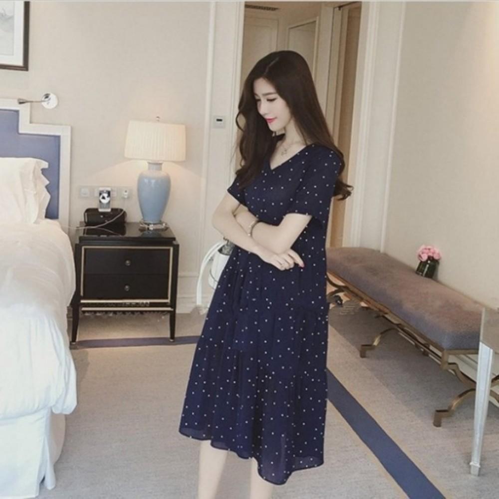 雪紡洋裝【D1262】短袖 圓點點 V領 傘狀 洋裝 孕婦裝 孕婦洋裝 長裙 封面照片