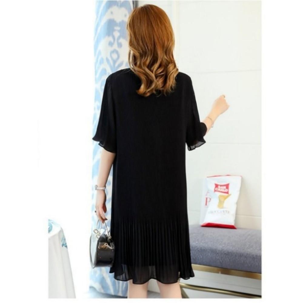 韓系洋裝 【D1273】 百褶 雪紡 短袖 孕婦裝 蝴蝶 綁帶 孕婦洋裝