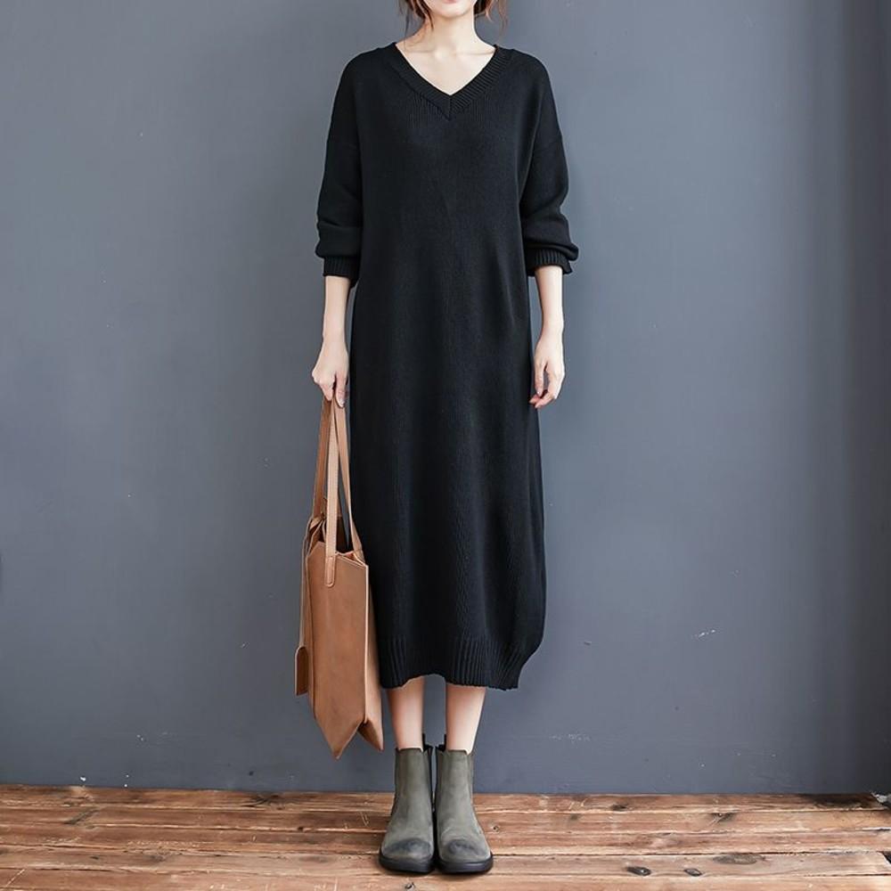 實拍 長袖 針織 長裙【D1285】毛衣裙 洋裝 針織毛衣 v領 針織裙