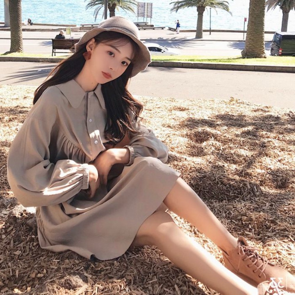 韓系 長袖 寬鬆 翻領 洋裝【D1316】開扣 襯衫洋裝 連衣裙