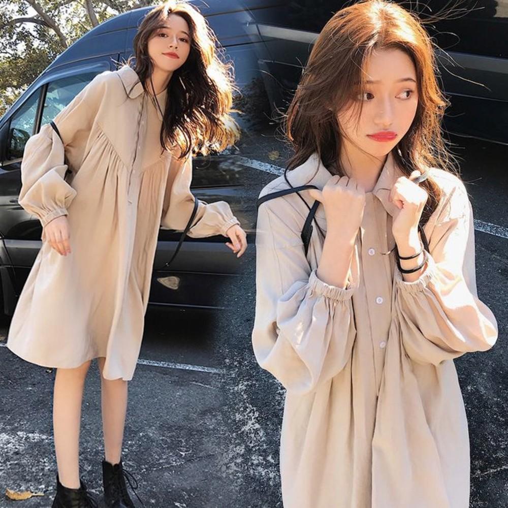 D1316 - 韓系 長袖 寬鬆 翻領 洋裝【D1316】開扣 襯衫洋裝 連衣裙