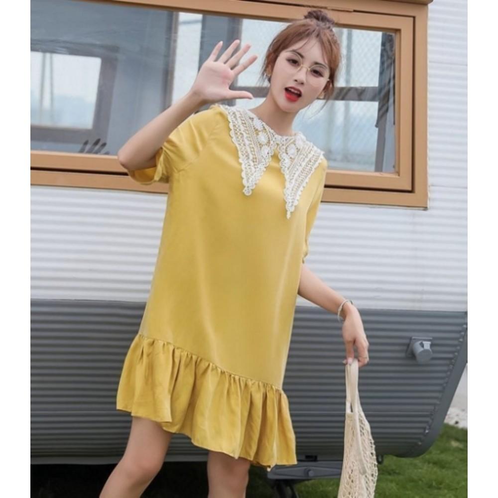 魚尾洋裝 【D1452】 兩穿 蕾絲領 短袖 孕婦裝 孕婦洋裝 五分袖 魚尾裙