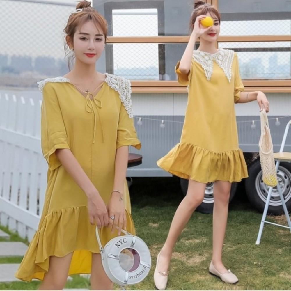 D1452-魚尾洋裝 【D1452】 兩穿 蕾絲領 短袖 孕婦裝 孕婦洋裝 五分袖 魚尾裙