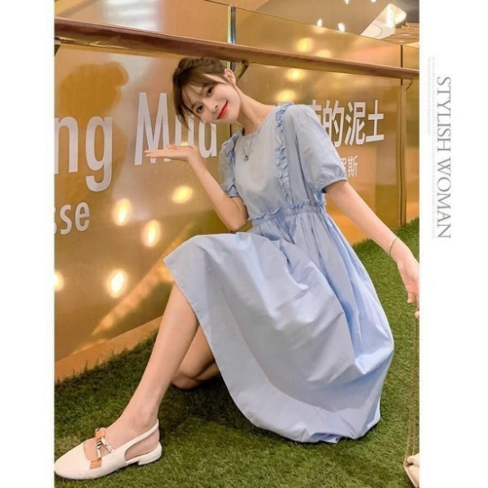 洋裝 【D1688】 詮釋優雅 泡泡袖 純色 長裙 短袖 孕婦裝 洋裝 長洋裝 腰部 抽繩 可調整