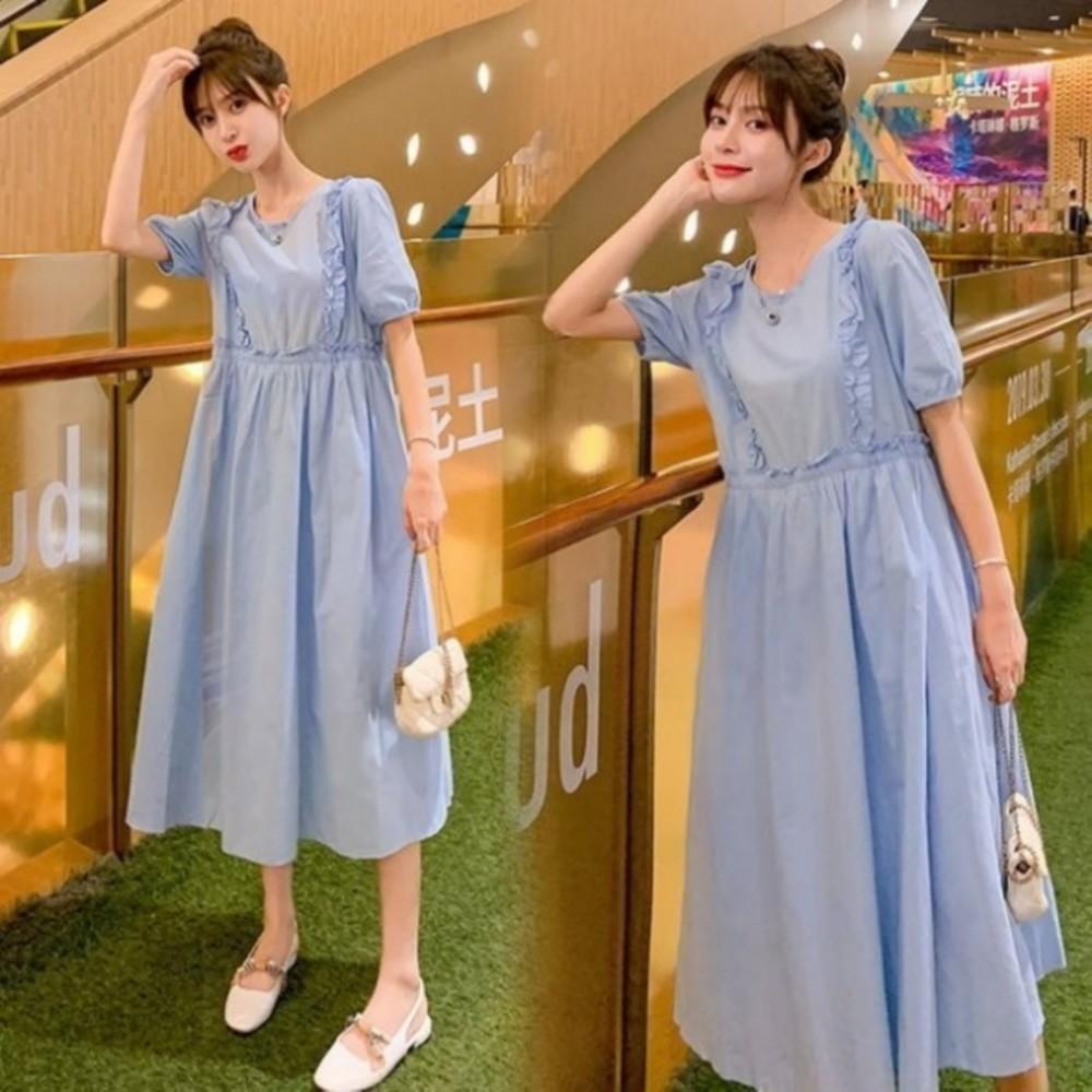 D1688-洋裝 【D1688】 詮釋優雅 泡泡袖 純色 長裙 短袖 孕婦裝 洋裝 長洋裝 腰部 抽繩 可調整