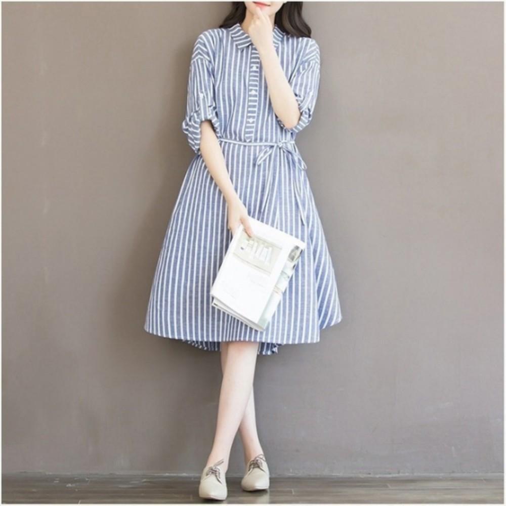 文藝棉麻洋裝 【D169YS】 棉麻 寬鬆 條紋 襯衫洋裝 孕婦裙 連衣裙 開襟 孕婦裝