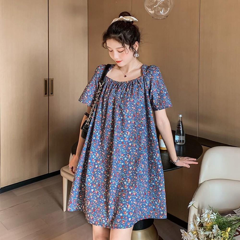 韓系 實拍 甜蜜 碎花 娃娃裙【D1722】洋裝 連身裙 寬鬆 後背 繫帶 孕婦裝