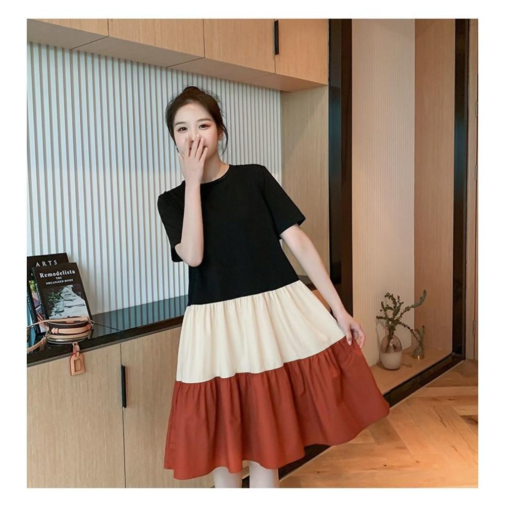 實拍 寬鬆 撞色 洋裝【D1833】純棉 傘狀 短袖 洋裝 過膝 M-XXXL 加大 連身裙