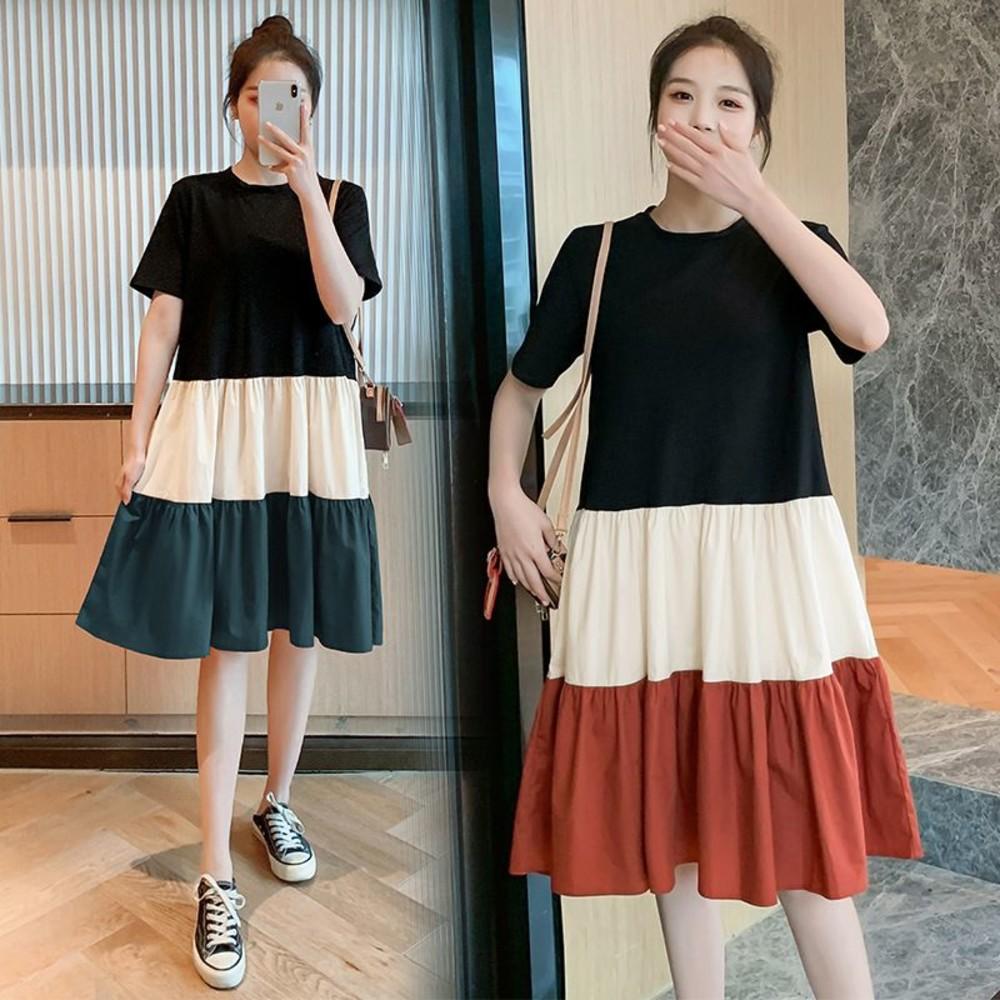 D1833-實拍 寬鬆 撞色 洋裝【D1833】純棉 傘狀 短袖 洋裝 過膝 M-XXXL 加大 連身裙