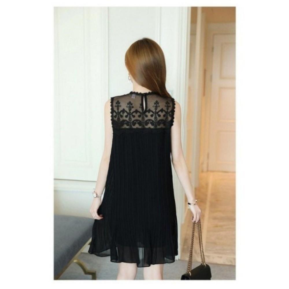 雪紡洋裝 【D2021】 鏤空 無袖 蕾絲 勾花 拼接 百褶 雪紡 洋裝 孕婦裝