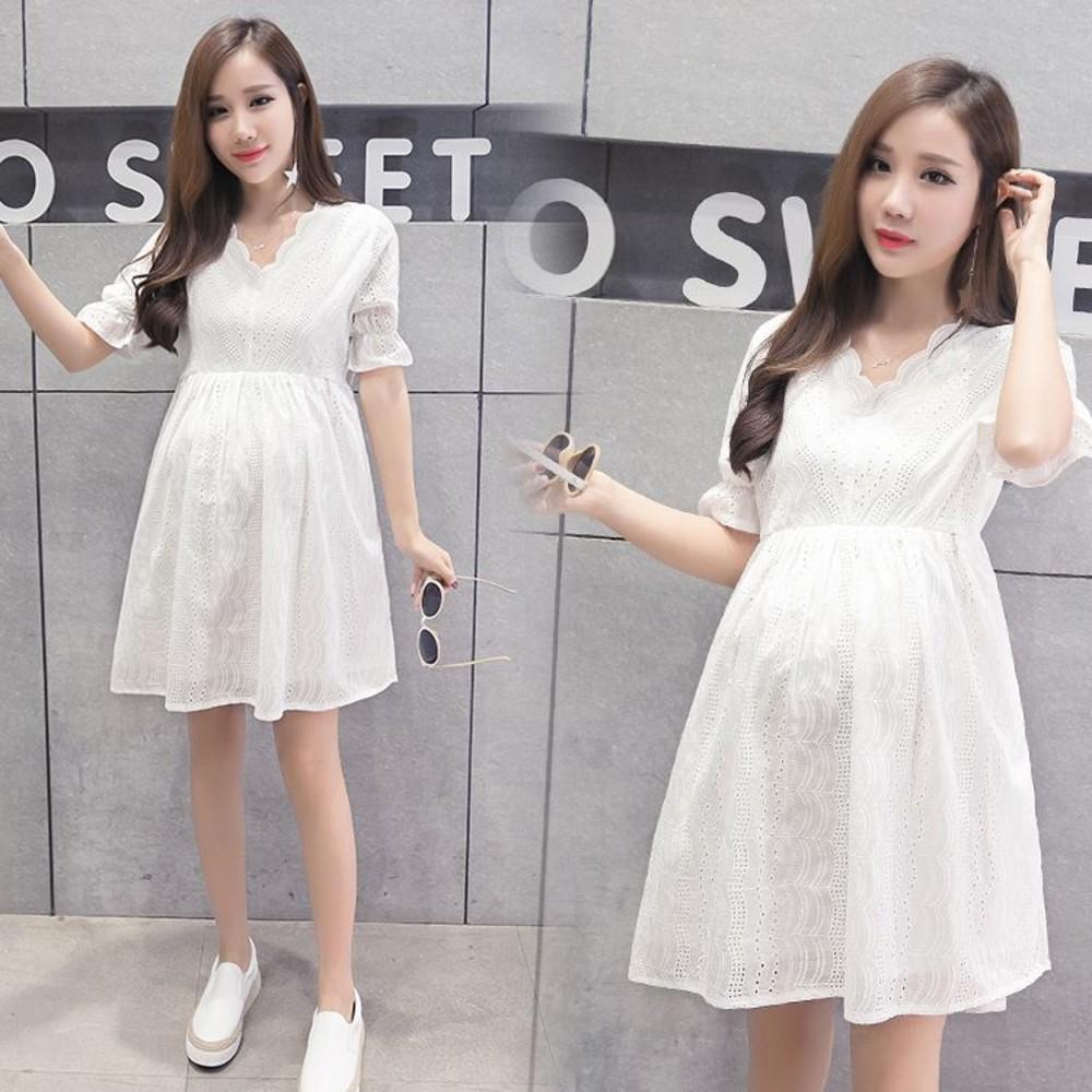 D2029SN-短袖洋裝 【D2029SN】 布蕾絲 泡泡 短袖 孕婦裙 孕婦裝 娃娃裝