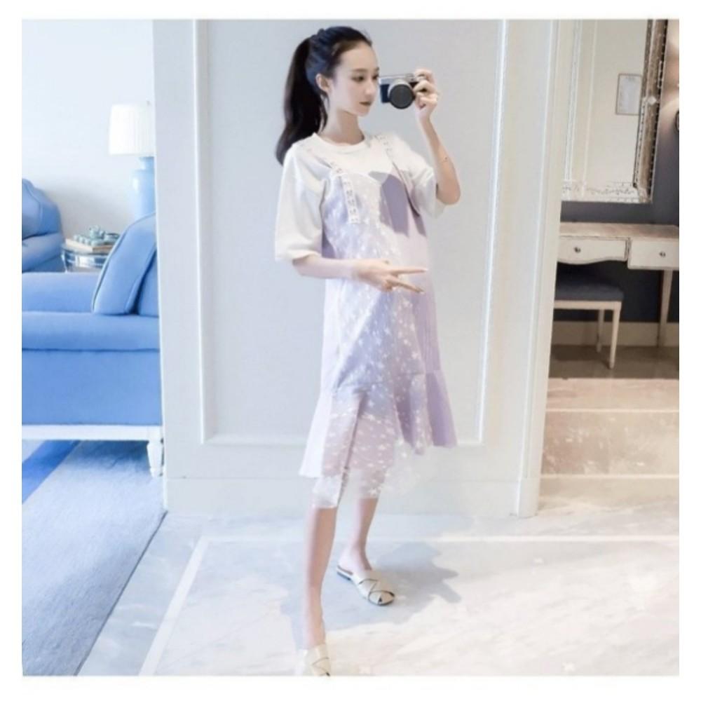 孕婦洋裝 【D2033】 假兩件 背心裙 條紋 短袖 洋裝 孕婦裝 魚尾裙 魚尾洋裝