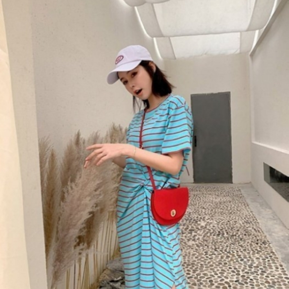 韓系扭結 開岔 洋裝 【D2107】條紋 開叉 長裙 短袖 休閒 連身裙 孕婦裝