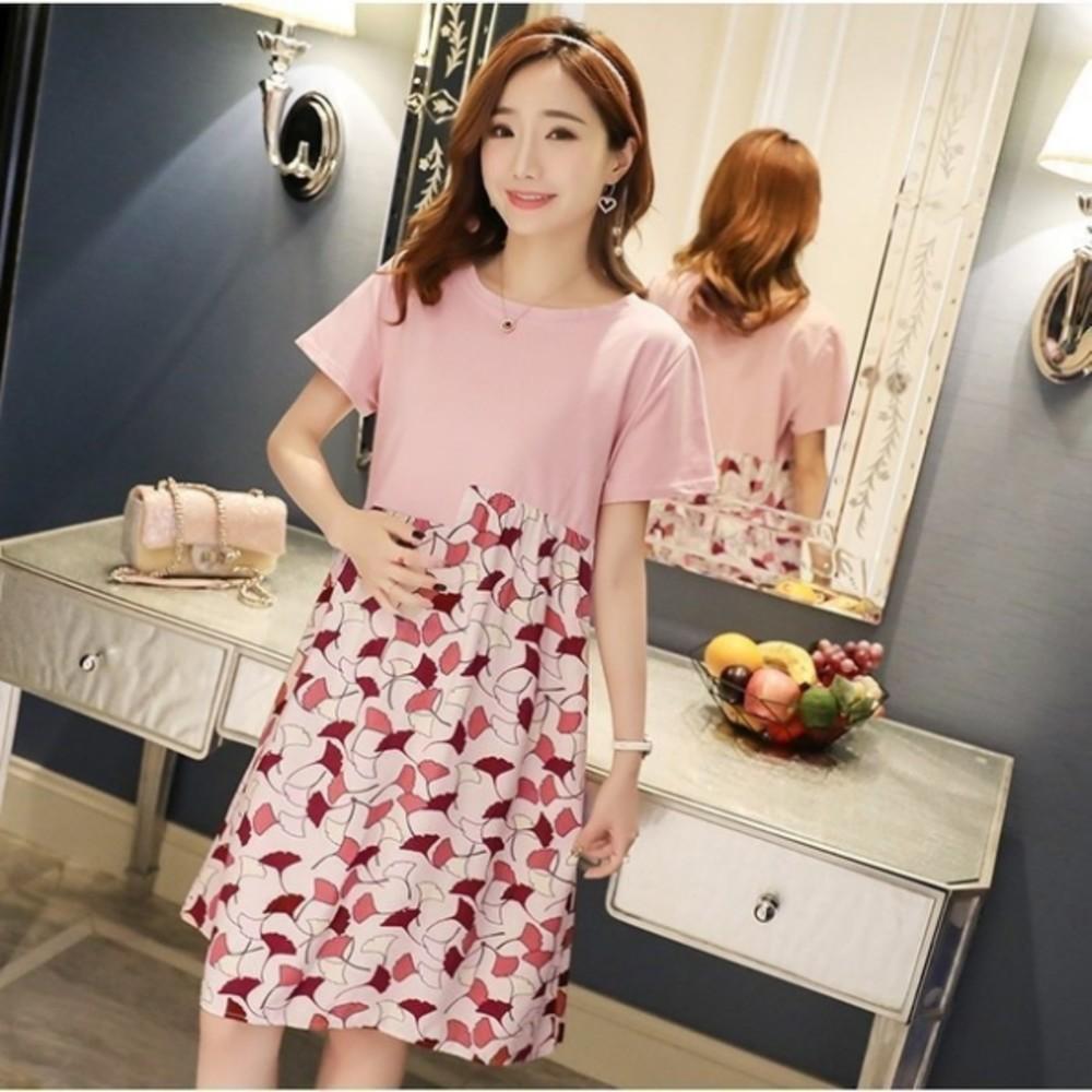 氣質洋裝 【D2126】 韓系 超質感 短袖 孕婦裝 拼接 孕婦洋裝 連身裙