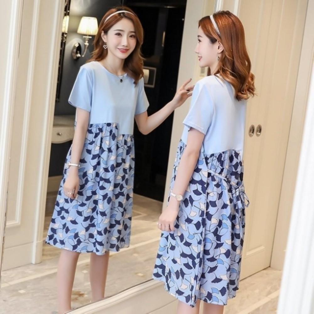 氣質洋裝 【D2126】 韓系 超質感 短袖 孕婦裝 拼接 孕婦洋裝 連身裙 封面照片