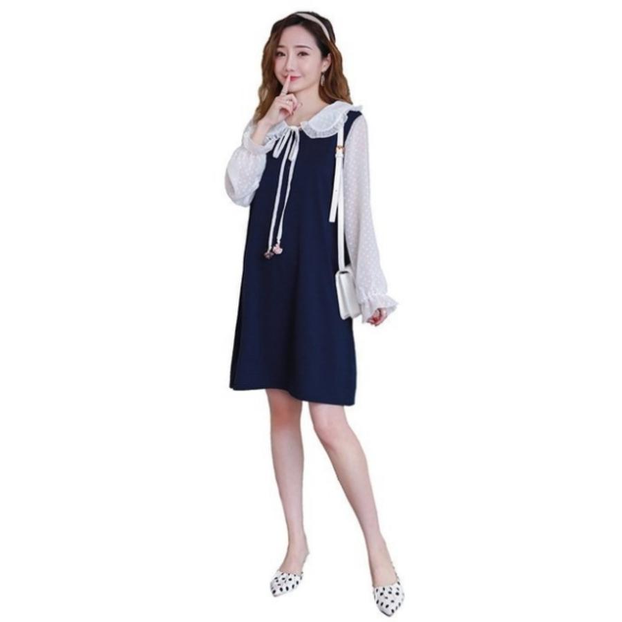 韓系 時尚 娃娃領 小洋裝 【D2130】孕婦裝 連衣裙 韓系 時尚 娃娃領 寬鬆 連衣裙