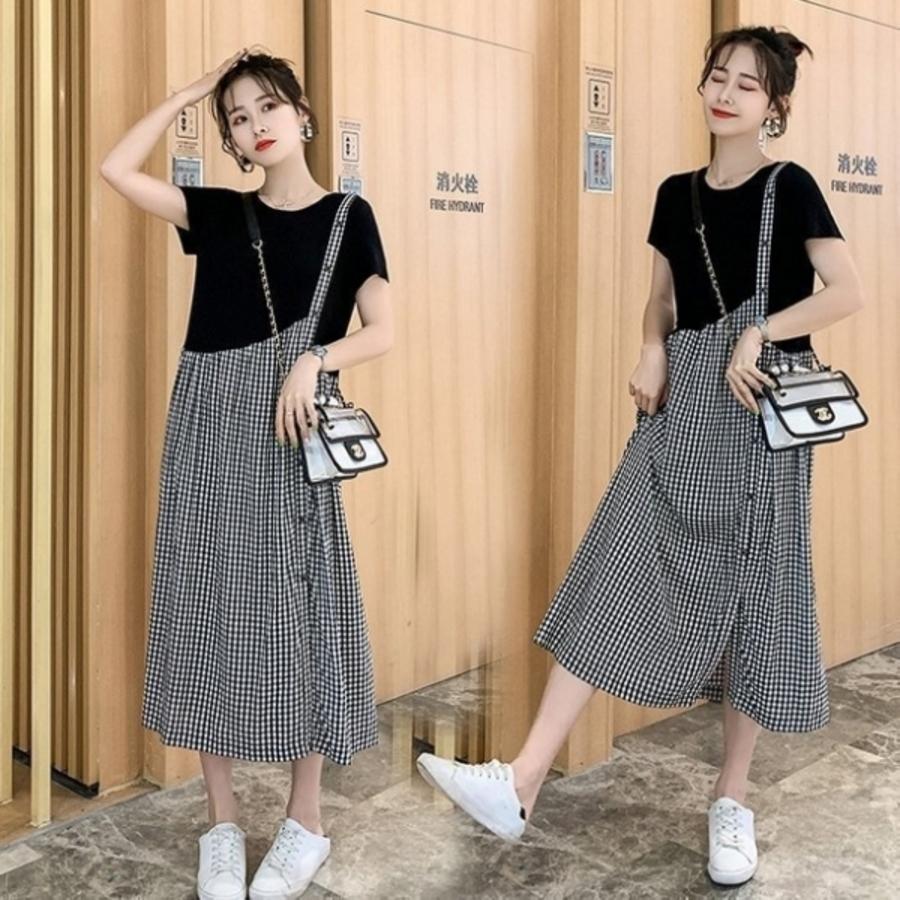 D2136-文藝 長裙 【D2136】 格紋 拼接 假兩件 背心裙 造型 長洋裝 孕婦裝