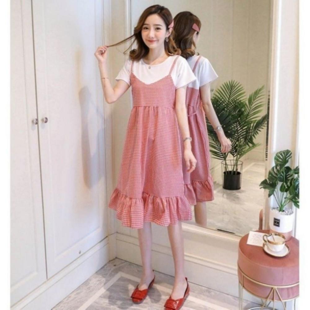 韓系假二件荷葉洋裝【D2139】 格紋 假兩件 拼接 背心裙 孕婦洋裝 孕婦裝 吊帶裙